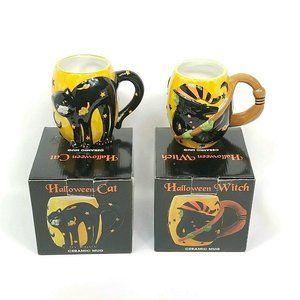 Susan Winget Halloween Witch Broom Mug Black Cat